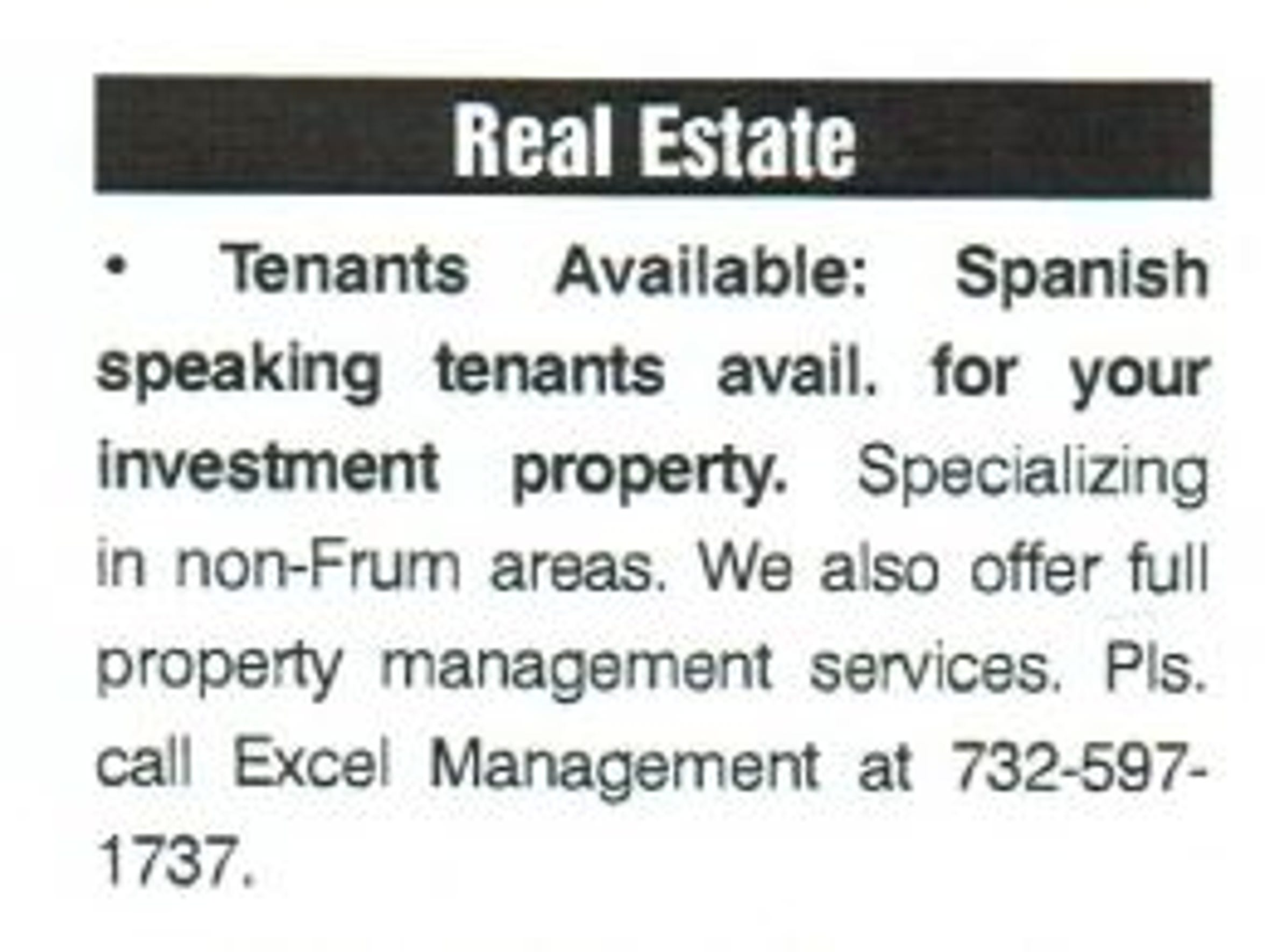 Copy of a classified ad in BP Weekly, a Lakewood publication.
