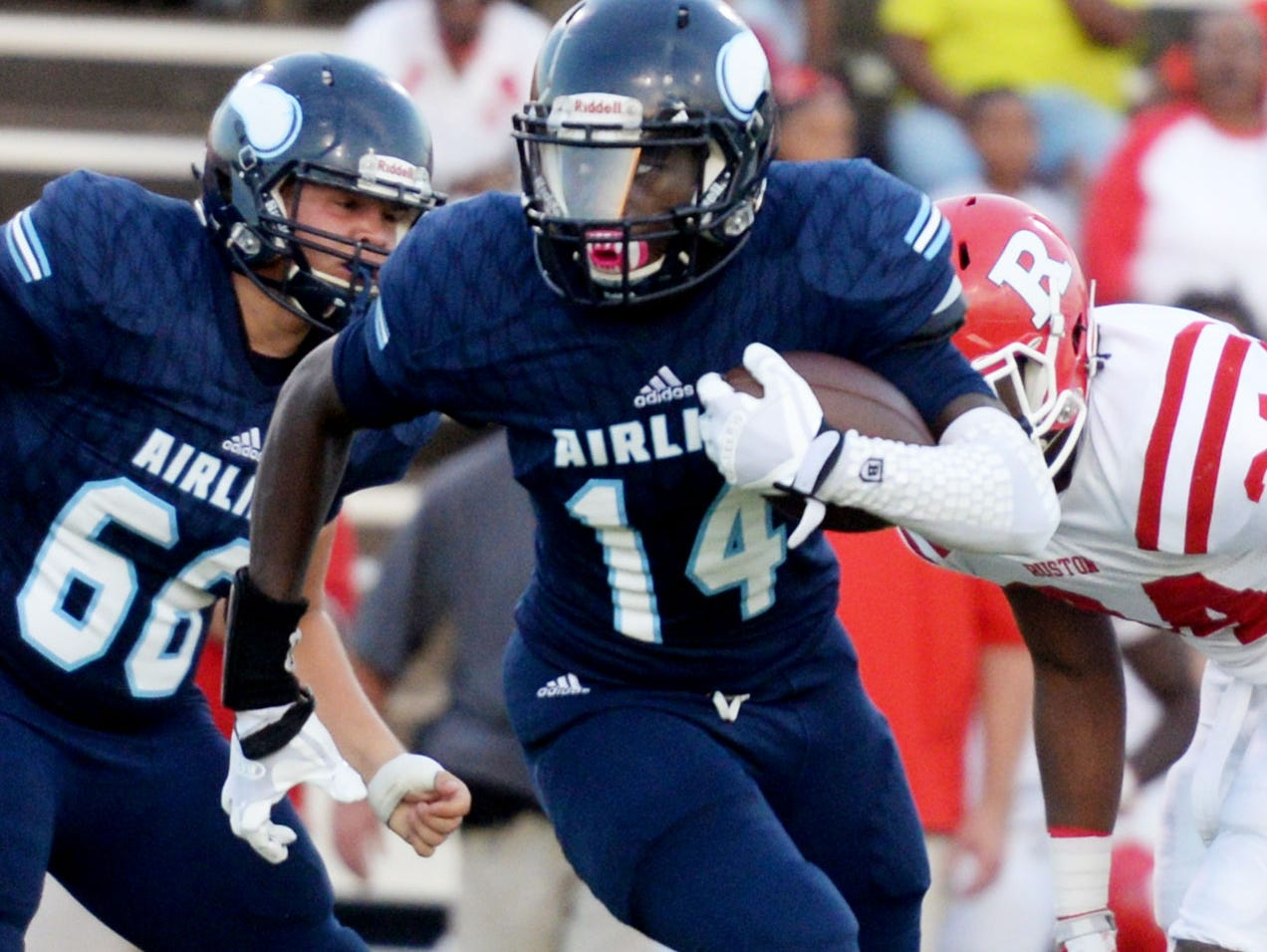 Airline's Coby Mcgee during their game against Ruston Friday evening at Airline High School.