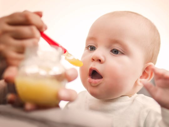 The American Academy of Pediatrics recommends that breast-milk or formula be a baby's sole nutritional source for about 6 months, and a primary source through the first year.