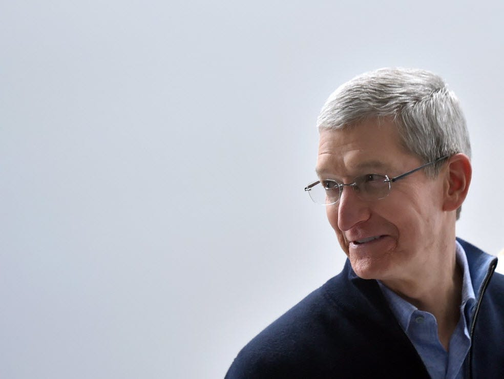 CEO Tim Cook speaks to members of the media at an Apple press event in San Francisco on Monday.