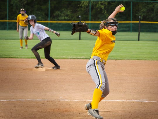 Haidyn Campbell, with the Speed '03 team from Murfreesboro, delivers a pitch during the Play 4 Tay Softball Tournament.