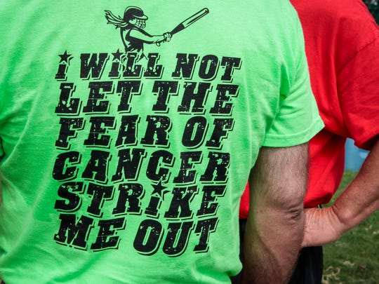 T-shirts which were on display at the Play 4 Tay Softball Tournament over the weekend.
