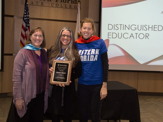 EFSC Professor Susan Houts (center) received the 2017