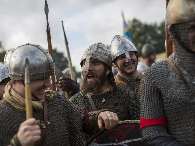 Historical re-enactors prepare to take part in a re-enactment