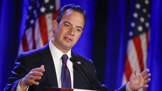 Republican National Committee Chairman Reince Priebus speaks at the Republican National Committee meetings Thursday in San Diego.