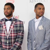 Andrew and Aaron Harrison on the Kentucky Derby red carpet at Churchill Downs in Louisville, KY. May 2, 2015