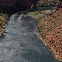 The Glen Canyon Bridge along U.S. Route 89 near Page, Ariz., offers this view of the Colorado River below Lake Powell.