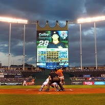 during game one of the American League Division Series at Kauffman Stadium on October 8, 2015 in Kansas City, Missouri.