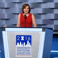Jul 27, 2016; Philadelphia, PA, USA; Jamie Dorff speaks during the 2016 Democratic National Convention at Wells Fargo Center. Dorff''s husband, Patrick Dorff, an Army helicopter pilot from Minnesota, died while on a search and rescue mission in northern Iraq.