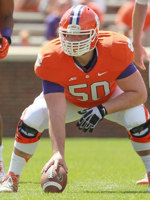 Offensive lineman Justin Falcinelli (50) prepares to snap the ball during the 2015 spring game at Clemson.