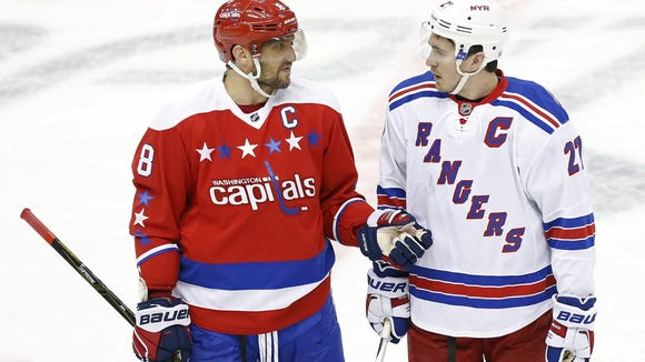 Rangers captain Ryan McDonagh (27) will renew acquaintances with Capitals captain Alex Ovechkin (8) on Saturday in D.C.