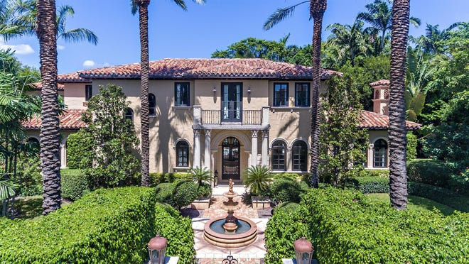 With traditional Mediterranean-style architecture, the house at 137 Woodbridge Road has sold for a recorded $8.745 million.