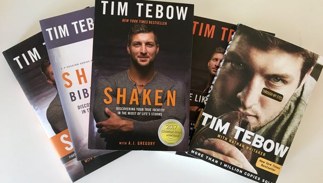 A selection of books by current Rumble Pony Tim Tebow.