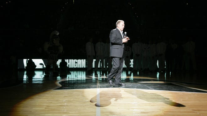 Michigan State coach Tom Izzo talks to the crowd before a college basketball scrimmage, on Oct. 23, 2015, in East Lansing. Covering him was grating and gratifying, sports writer Joe Rexrode says.