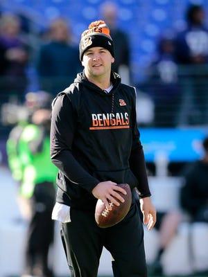 Cincinnati Bengals quarterback AJ McCarron (5) throws passes during warmups before the NFL Week 12 game between the Baltimore Ravens and the Cincinnati Bengals at M&T Bank Stadium in Baltimore on Sunday, Nov. 27, 2016.