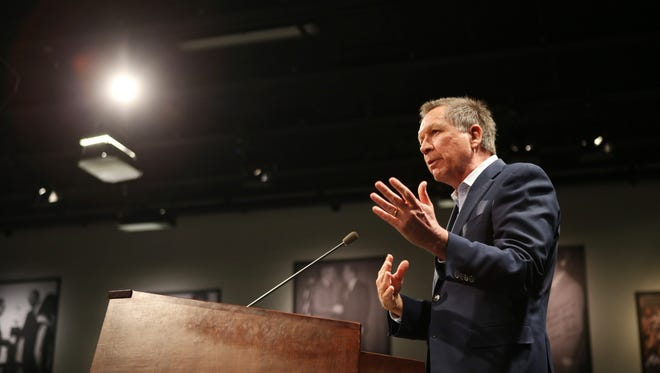 Gov. John Kasich speaks at Saint Anselm College in Manchester, NH, on Tuesday morning.