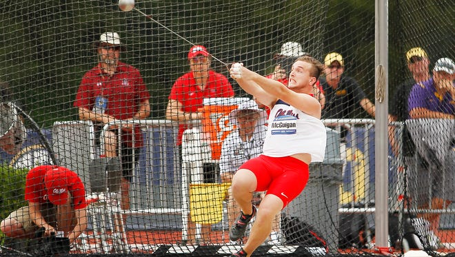 Ole Miss' Dempsey McGuigan finished second in the hammer toss Thursday at the SEC Track and Field Championships.