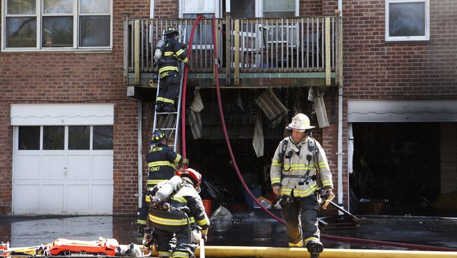 Firefighters extinguish a blaze at 300 Broadway in Dobbs Ferry.