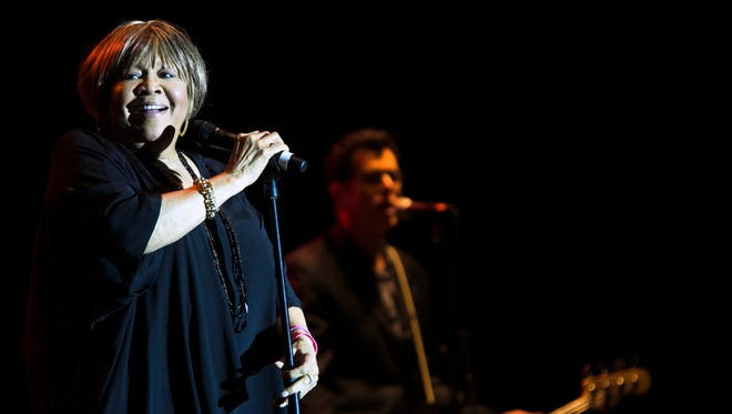 """April 29, 2016 - Former Stax Records artist Mavis Staples, 76, performs with her band during a set at the 39th annual Beale St. Music Festival at Tom Lee Park Friday. Staples is currently on tour promoting her new album, """"Livin' on a High Note."""" (Yalonda M. James/The Commercial Appeal)"""