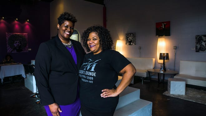 February 25, 2016 - Cynthia Daniels (left) and Fran Mosley, chef/owner of HM Dessert Lounge, pose for a portrait at Mosley's establishment at 1586 Madison Ave. Thursday. HM Dessert Lounge is one of the participating black-owned restaurants in the upcoming Memphis Black Restaurant Week, which is being organized by Daniels. The restaurant opened on November 6, 2015. (Yalonda M. James/The Commercial Appeal)