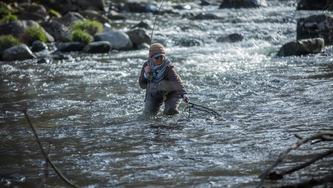 Tammy Neal competes in last year's Casting For Hope Fly-Fishing Competition on Little Rock Creek in Bakersville. The event, April 13-15, will bring in some of the top fly-fishers from around the country.