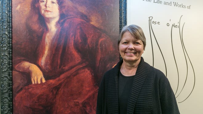 """Volunteer Susan Scott didn't know anything about Rose O'Neill when she first visited Bonniebrook; now, she says she's """"obsessed"""" with the late artist."""