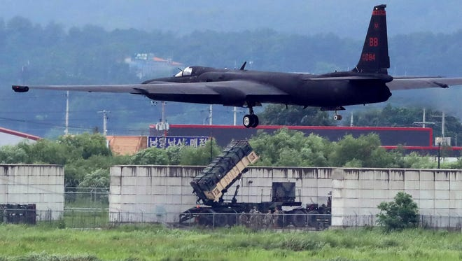 A U.S. Air Force U-2 spy plane takes off on the runway at the Osan U.S. Air Base in Pyeongtaek, South Korea, Monday, Aug. 21, 2017.