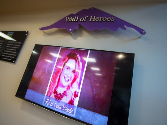 """MountainView Regional Medical Center's new """"Wall of Heroes"""", a video slideshow of those whose death at the center allowed for subsequent tissue donation, April 14, 2016."""