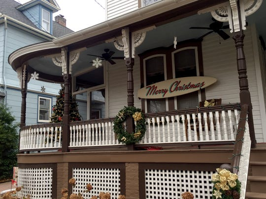 The Victorian houses in the historic district of Cape May ready for the Christmas holiday.