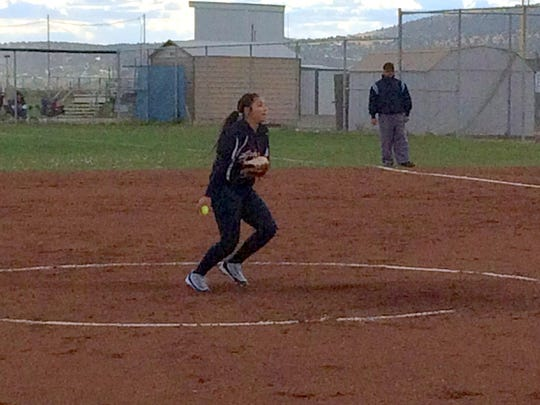 Cobre's Jadin Placencio tossed the win against Silver on Tuesday evening to put the Lady Indians in the driver's seat for the District 3-4A race.