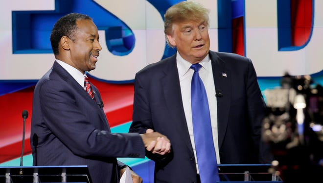 Ben Carson and Donald Trump at the Feb. 25, 2016, GOP debate in Houston.