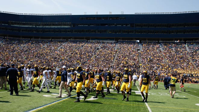 Michigan fans watch the spring game Saturday, April 15, 2017 at Michigan Stadium in Ann Arbor.