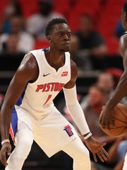 Pistons Reggie Jackson plays defense during the first period of the 107-97 exhibition win over the Pacers on Monday, Oct. 9, 2017, at Little Caesars Arena.