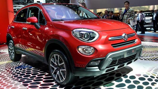The Fiat 500X new small crossover SUV on display at its unveiling at the Paris Motor Show this week.