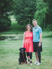 Patrick Downes, his wife Jessica Kensky and dog Rescue