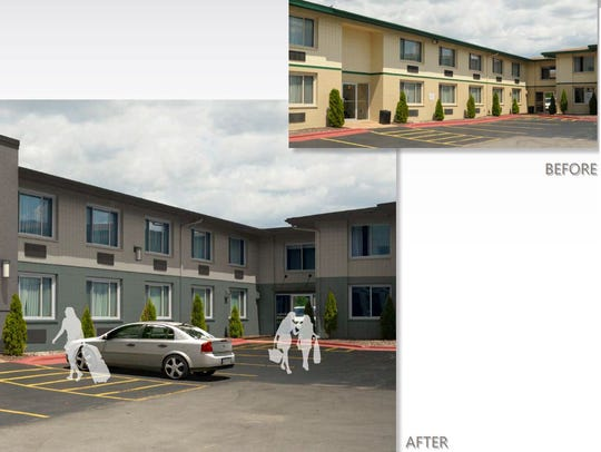A before-and-after look at proposed facade improvements for the Best Western Green Bay Inn Conference Center in Ashwaubenon.
