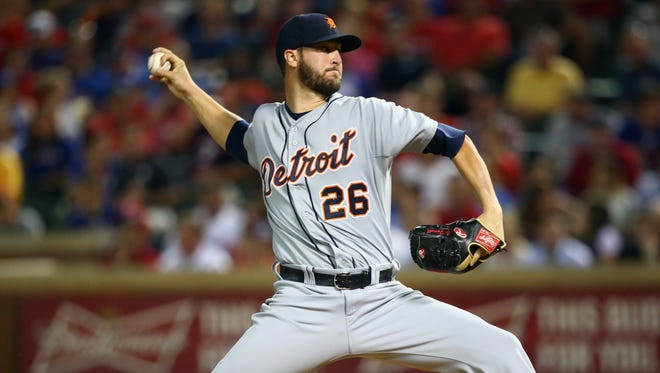 Tigers pitcher Jeff Ferrell throws in the fifth inning Wednesday in Arlington, Texas.