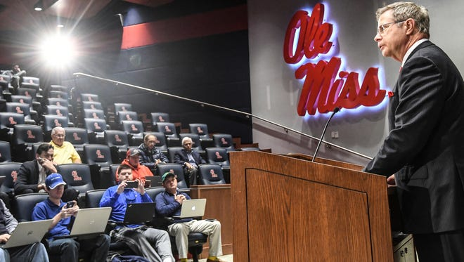 Jeff Vitter (right), Ole Miss chancellor, is one of many university presidents in Mississippi who has shared their concerns about House Bill 1083.