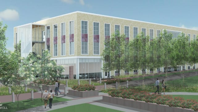 Architectural renderings for a proposed $25 million Sioux Falls city administration building.