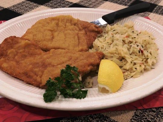Wiener schnitzel and rice pilaf from Roepke's Village Inn.