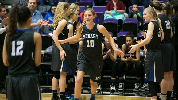 McNary's Kailey Doutt (10) is introduced before the start of a game against Jesuit in the first round of the OSAA Class 6A state tournament on Wednesday, March 9, 2016, at the University of Portland. McNary lost the round to Jesuit 52-33.