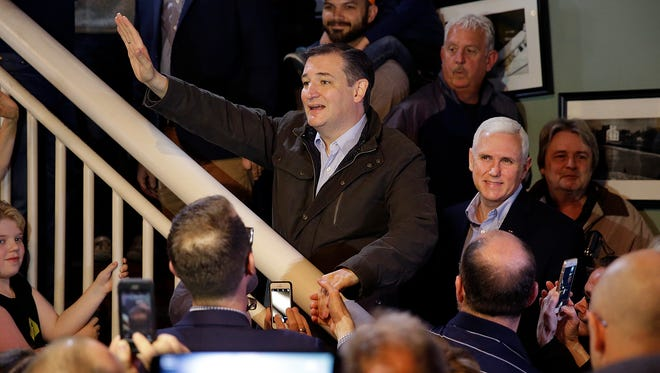 Texas Sen. Ted Cruz, along with Indiana Gov. Mike Pence, took time on the campaign trail to greet supporters May 2, 2016, at The Mill in Marion. Cruz dropped out of the GOP presidential race after his primary loss in Indiana.