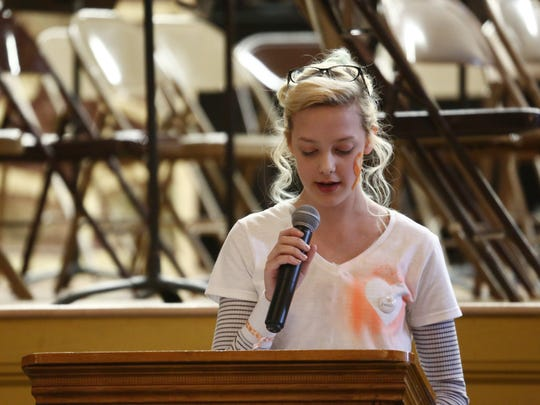 Maya Jackman, a student at Wappingers Junior High speaks during Wednesday's walk-in for gun violence on March 14, 2018. Jackman sparked interest in the assembly by emailing a teacher her interest in participating in the national walkout.