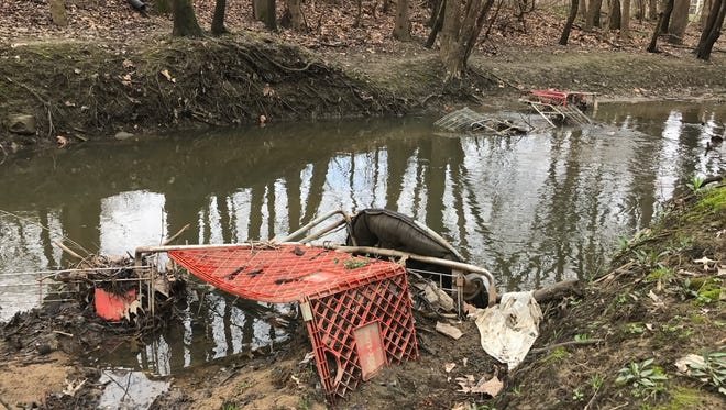 More than 30 shopping carts littered in a stream that feeds into Pigeon Creek on the North Side.