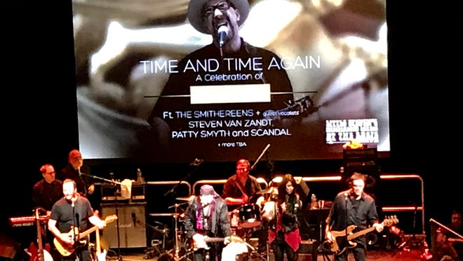 """The Smithereens jam at """"Time and Time Again: A Celebration of Pat DiNizio"""" on Jan. 13 at Count Basie Theatre, Red Bank. From left: Kenny Margolis, Jim Babjak, Ed Stasium, Dennis Diken, Zou Zou and Mike Mesaros."""