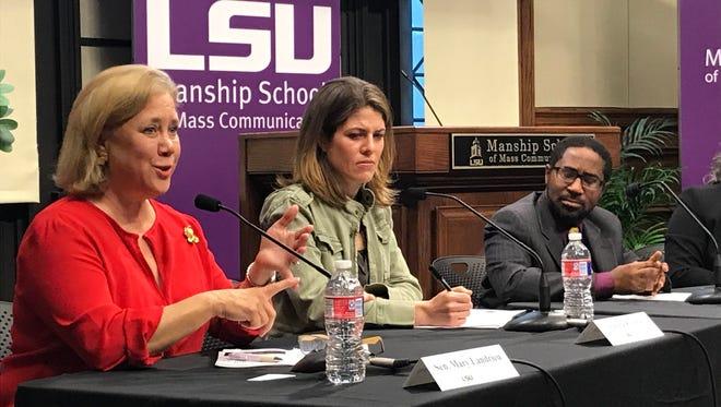 Former U.S. Sen. Mary Landrieu, journalist Gloria Riviera and journalism professor Steve Bien-Aime spoke Thursday about sexual harassment in media and politics.