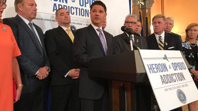 Sen. George Amedore, R-Rotterdam, speaks about the need for additional money for opioid treatment programs during a news conference at the state Capitol on June 19, 2018.