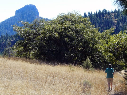 Hiking the Pacific Crest Trail toward Pilot Rock in the Cascade-Siskiyou    National Monument in Oregon.