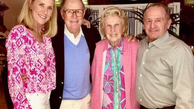 Merrilee Gagnon, Pete Dye, Alice Dye and Gilles Gagnon at Casa de Campo in 2016.