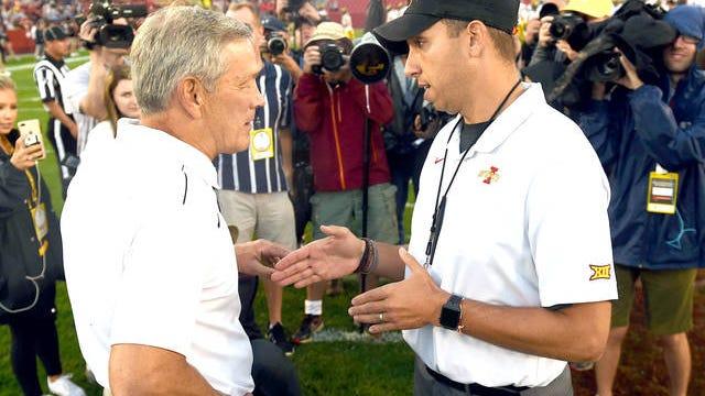 Before last year's Cy-Hawk game, Iowa State head coach Matt Campbell and Iowa head coach Kirk Ferentz greet each other. File photo